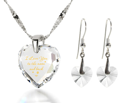 I Love You to the Moon and Back Necklace 24k Gold Inscribed and Crystal Heart Earrings - NanoStyle Jewelry