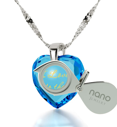 925 Sterling Silver I Love You to The Moon and Back Necklace 24k Gold Inscribed Heart Cubic Zirconia Pendant - NanoStyle Jewelry