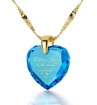 Gold Plated I Love You to The Moon and Back Necklace 24k Gold Inscribed Heart Cubic Zirconia Pendant