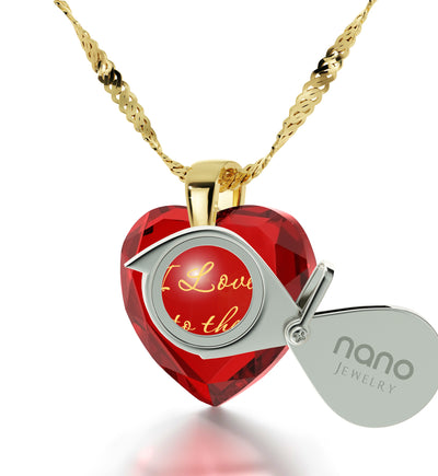 Gold Plated I Love You to The Moon and Back Necklace 24k Gold Inscribed Heart Cubic Zirconia Pendant - NanoStyle Jewelry
