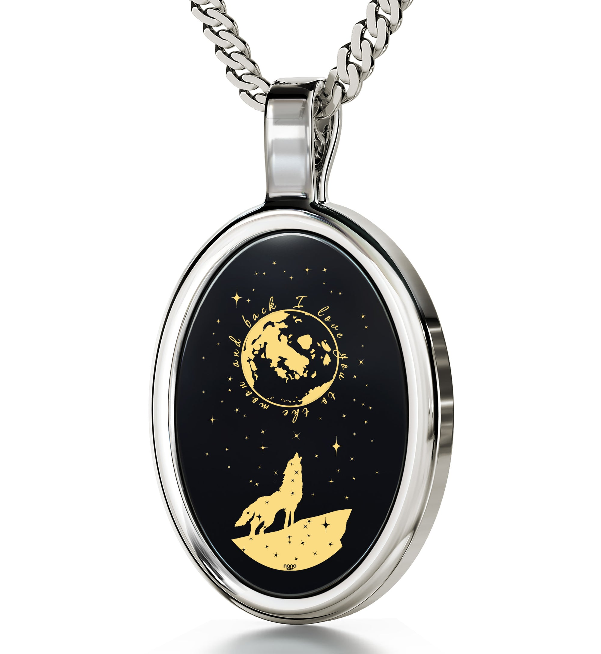 I love you to the moon and back necklace wolf pendant 24k gold i love you to the moon and back necklace wolf pendant 24k gold inscribed on onyx aloadofball Image collections