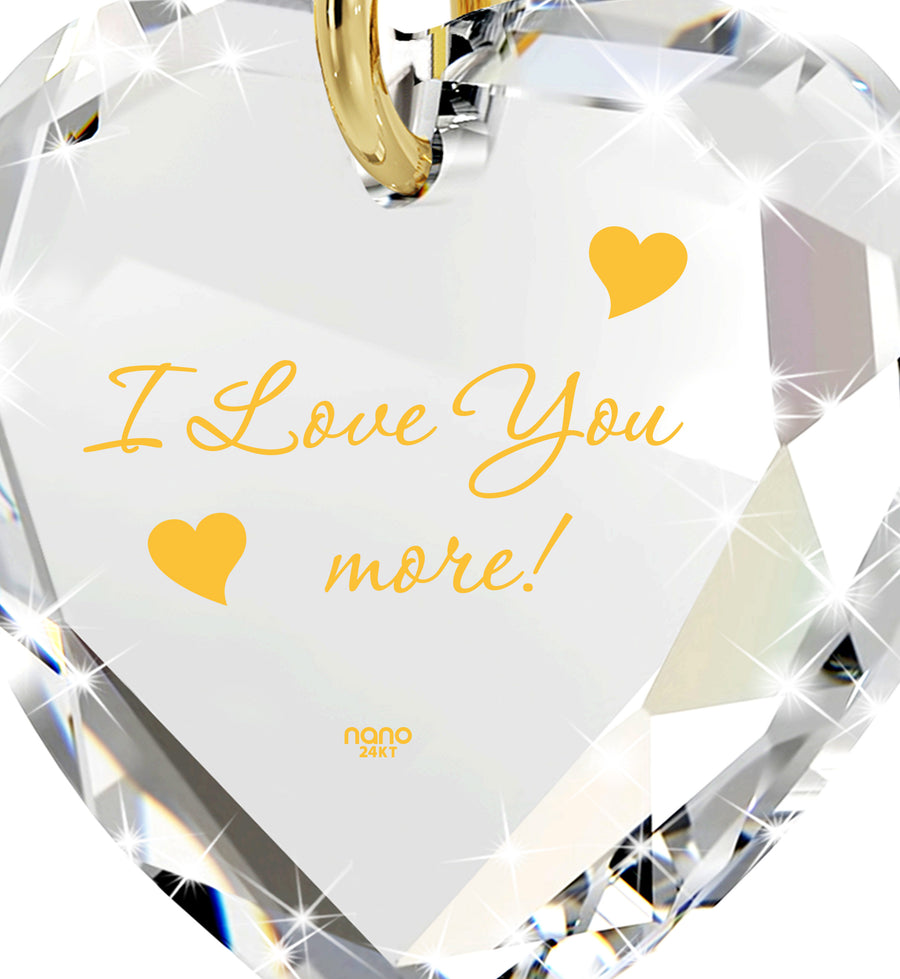 I Love You More Necklace 24k Gold Inscribed Tiny Crystal Swarovski Heart Pendant