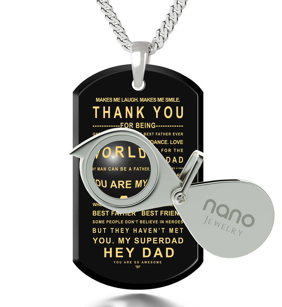 Dad Necklace Dog Tag Pendant 24k Gold Inscribed Unique Gift for Him