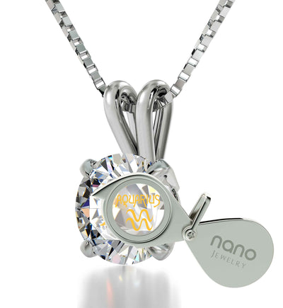 925 Sterling Silver Aquarius Necklace Zodiac Pendant 24k Gold Inscribed on Crystal - NanoStyle Jewelry