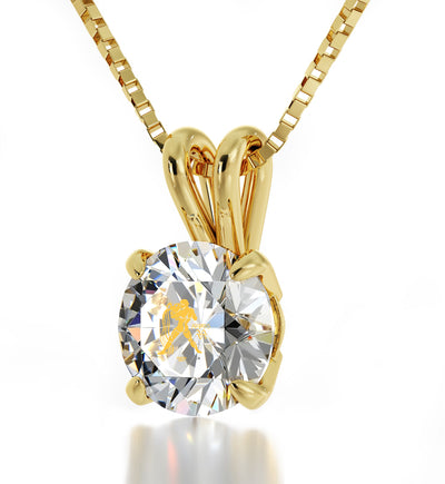 14k Yellow Gold Aquarius Necklace Zodiac Pendant 24k Gold inscribed on Crystal - NanoStyle Jewelry