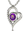 925 Sterling Silver Aquarius Necklace Zodiac Heart Pendant 24k Gold inscribed on Crystal