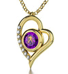 Gold Plated Zodiac Heart Pendant Aquarius Necklace 24k Gold inscribed on Crystal