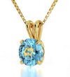 Gold Plated Pisces Necklace Zodiac Pendant 24k Gold Inscribed on Crystal - NanoStyle Jewelry