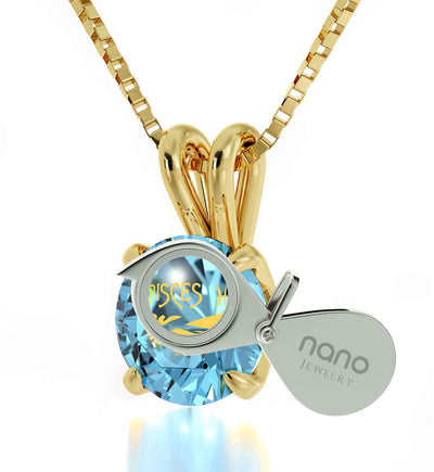 14k Yellow Gold Pisces Necklace Zodiac Pendant 24k Gold Inscribed on Crystal - NanoStyle Jewelry