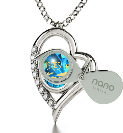 925 Sterling Silver Zodiac Heart Pendant Pisces Necklace 24k Gold Inscribed on Crystal