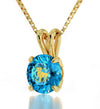 Gold Plated Aries Necklace Zodiac Pendant 24k Gold inscribed on Crystal
