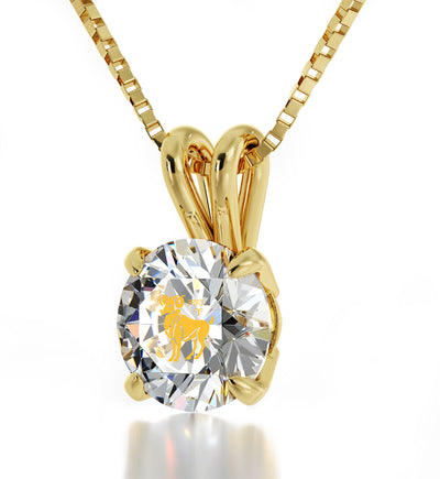 14k Yellow Gold Aries Necklace Zodiac Pendant 24k Gold inscribed on Crystal - NanoStyle Jewelry