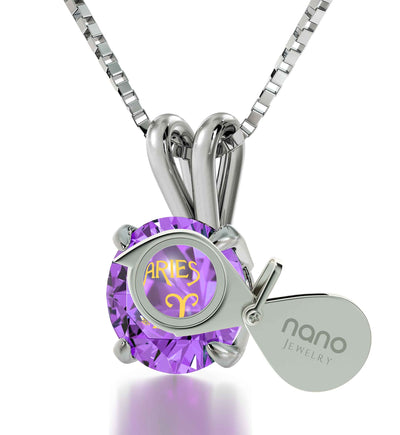 925 Sterling Silver Aries Necklace Zodiac Pendant 24k Gold inscribed on Crystal - NanoStyle Jewelry