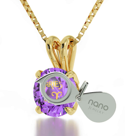 Gold Plated Aries Necklace Zodiac Pendant 24k Gold inscribed on Crystal  - NanoStyle Jewelry