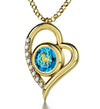 925 Sterling Silver Aries Necklace Zodiac Heart Pendant 24k Gold inscribed on Crystal