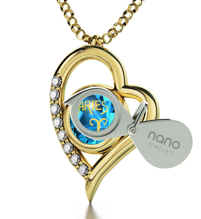 925 Sterling Silver Aries Necklace Zodiac Heart Pendant 24k Gold inscribed on Crystal - NanoStyle Jewelry