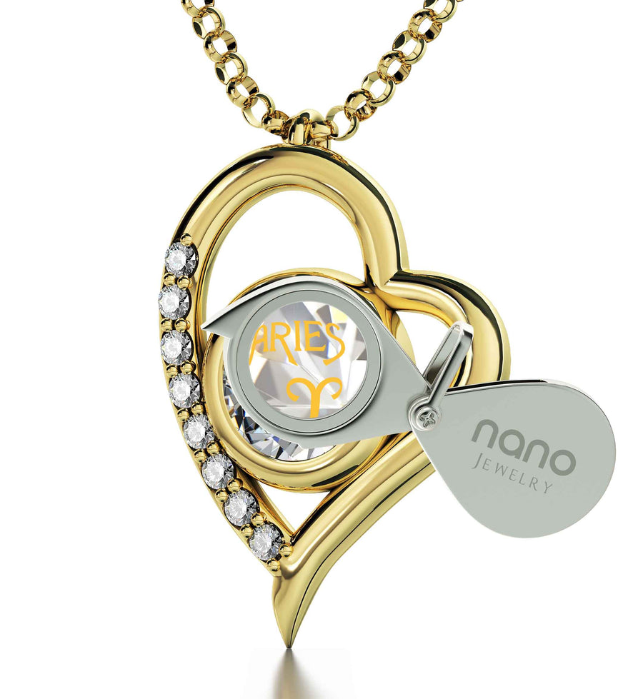 Gold Plated Aries Necklace Zodiac Heart Pendant 24k Gold inscribed on Crystal