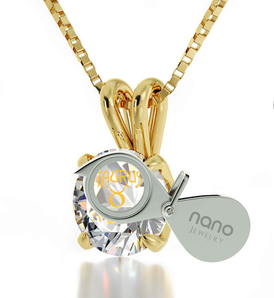 14k Yellow Gold Taurus Necklace Zodiac Pendant 24k Gold Inscribed on Crystal - NanoStyle Jewelry