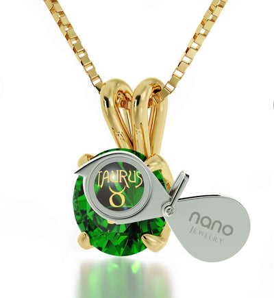 Gold Plated Taurus Necklace Zodiac Pendant 24k Gold Inscribed on Crystal - NanoStyle Jewelry