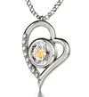 925 Sterling Silver Taurus Necklace Zodiac Heart Pendant 24k Gold Inscribed on Crystal - NanoStyle Jewelry