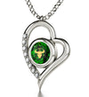 925 Sterling Silver Taurus Necklace Zodiac Heart Pendant 24k Gold Inscribed on Crystal