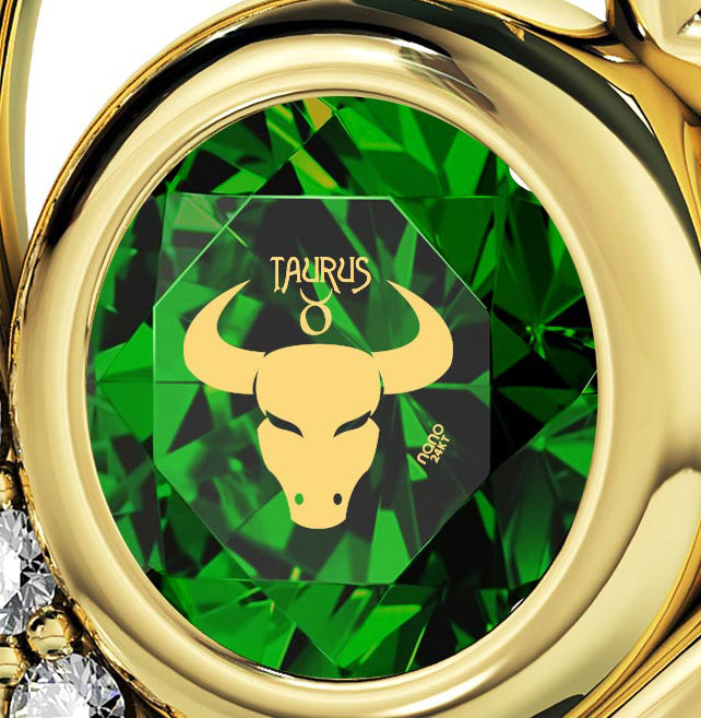 Gold Plated Taurus Necklace Zodiac Heart Pendant 24k Gold Inscribed on Crystal