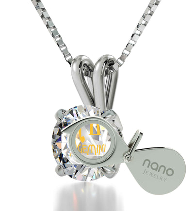 925 Sterling Silver Gemini Necklace Zodiac Pendant 24k Gold Inscribed on Crystal - NanoStyle Jewelry