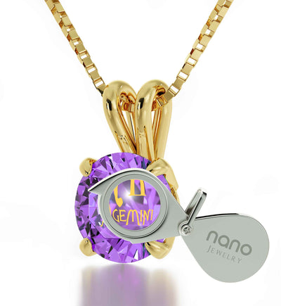 14k Yellow Gold Gemini Necklace Zodiac Pendant 24k Gold Inscribed on Crystal - NanoStyle Jewelry