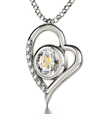 925 Sterling Silver Gemini Necklace Zodiac Heart Pendant 24k Gold Inscribed on Crystal - NanoStyle Jewelry