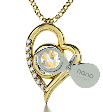 Gold Plated Gemini Necklace Zodiac Heart Pendant 24k Gold Inscribed on Crystal - NanoStyle Jewelry