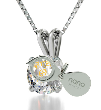 925 Sterling Silver Cancer Necklace Zodiac Pendant 24k Gold inscribed on Crystal - NanoStyle Jewelry