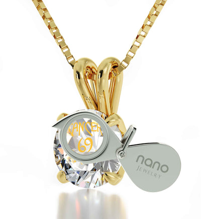 14k Yellow Gold Cancer Necklace Zodiac Pendant 24k Gold inscribed on Crystal - NanoStyle Jewelry