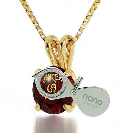 Gold Plated Cancer Necklace Zodiac Pendant 24k Gold inscribed on Crystal - NanoStyle Jewelry
