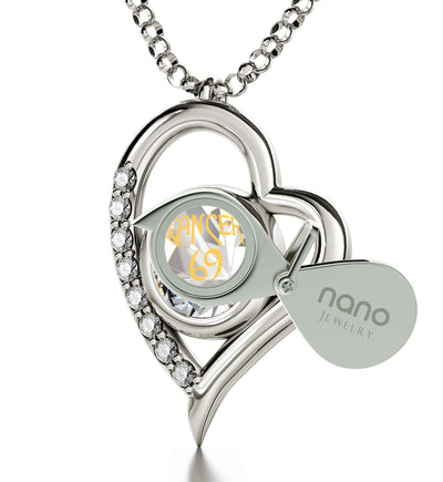 925 Sterling Silver Cancer Necklace Zodiac Heart Pendant 24k Gold inscribed on Crystal - NanoStyle Jewelry