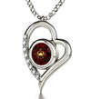 925 Sterling Silver Cancer Necklace Zodiac Heart Pendant 24k Gold inscribed on Crystal