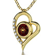 Gold Plated Cancer Necklace Zodiac Heart Pendant 24k Gold inscribed on Crystal