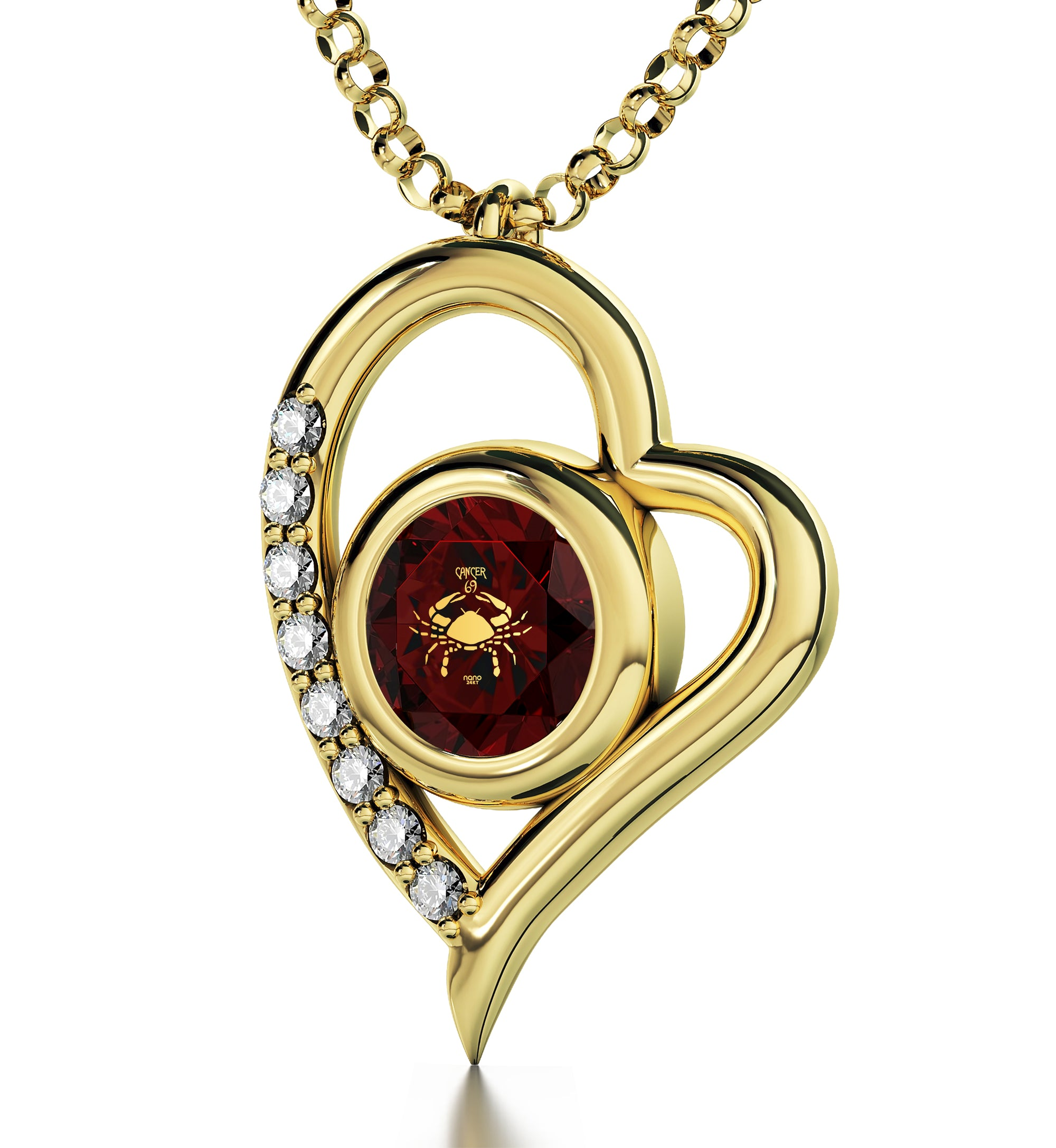 Gold Plated Cancer Necklace Zodiac Heart Pendant 24k Gold inscribed on Crystal - NanoStyle Jewelry