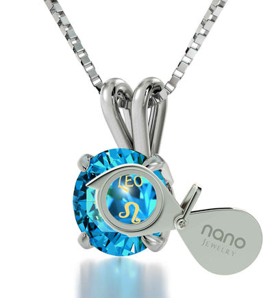 925 Sterling Silver Leo Necklace Zodiac Pendant 24k Gold Inscribed on Crystal - NanoStyle Jewelry
