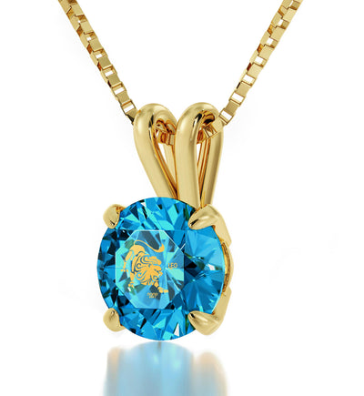 Gold Plated Leo Necklace Zodiac Pendant 24k Gold Inscribed on Crystal - NanoStyle Jewelry