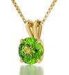 14k Yellow Gold Leo Necklace Zodiac Pendant 24k Gold Inscribed on Crystal
