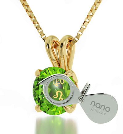 14k Yellow Gold Leo Necklace Zodiac Pendant 24k Gold Inscribed on Crystal - NanoStyle Jewelry