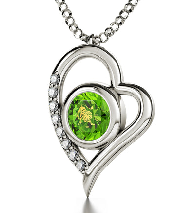 925 Sterling Silver Leo Necklace Zodiac Heart Pendant 24k Gold Inscribed on Crystal