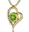 Gold Plated Leo Necklace Zodiac Heart Pendant 24k Gold Inscribed on Crystal