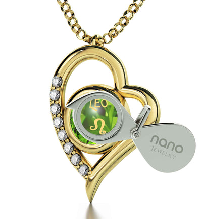 Gold Plated Leo Necklace Zodiac Heart Pendant 24k Gold Inscribed on Crystal - NanoStyle Jewelry