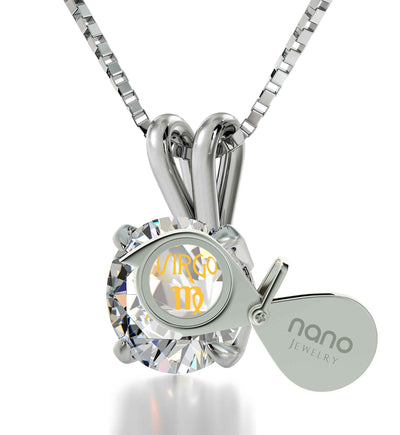 925 Sterling Silver Virgo Necklace Zodiac Pendant 24k Gold inscribed on Crystal - NanoStyle Jewelry