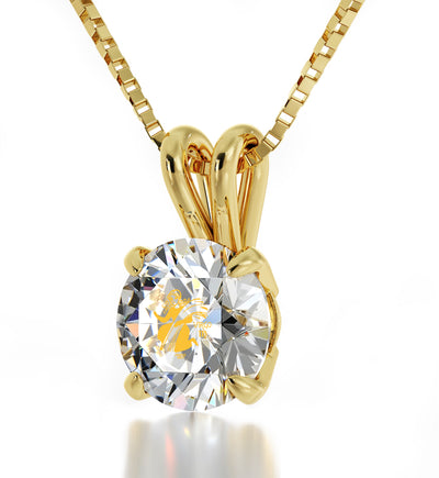 14k Yellow Gold Virgo Necklace Zodiac Pendant 24k Gold inscribed on Crystal - NanoStyle Jewelry