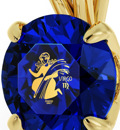 Gold Plated Virgo Necklace Zodiac Pendant 24k Gold Inscribed on Crystal - NanoStyle Jewelry