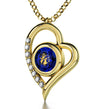 Gold Plated Virgo Necklace Zodiac Heart Pendant 24k Gold inscribed on Crystal