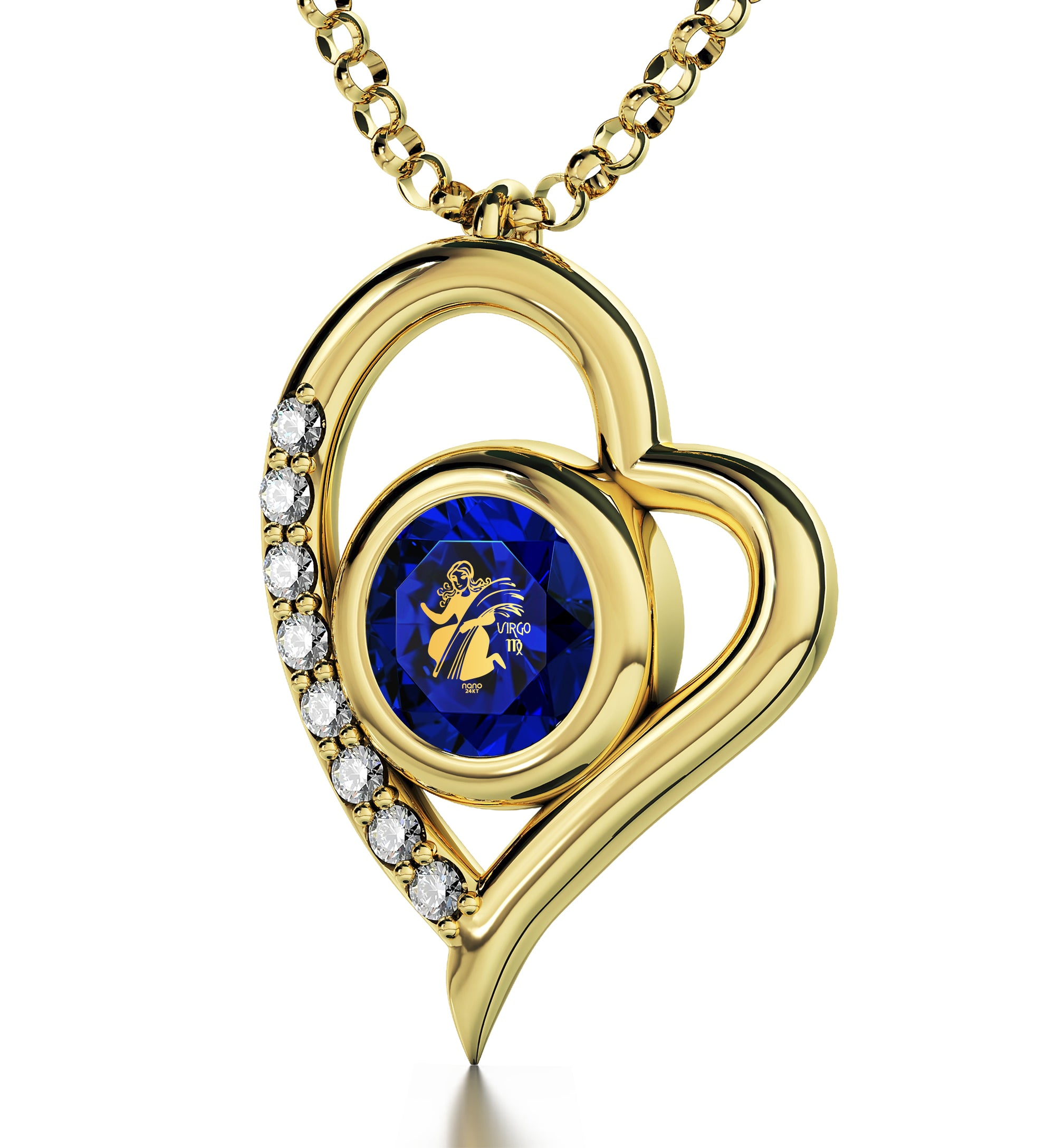 Gold Plated Virgo Necklace Zodiac Heart Pendant 24k Gold inscribed on Crystal - NanoStyle Jewelry