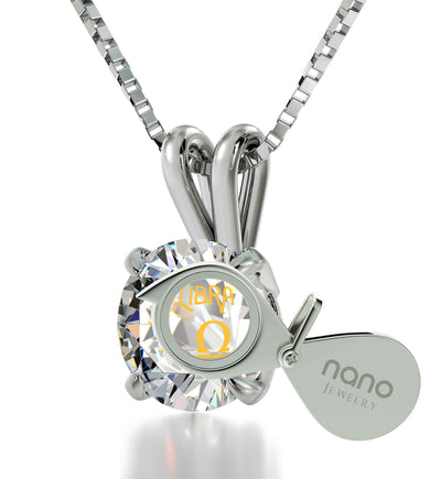925 Sterling Silver Libra Necklace Zodiac Pendant 24k Gold Inscribed on Crystal